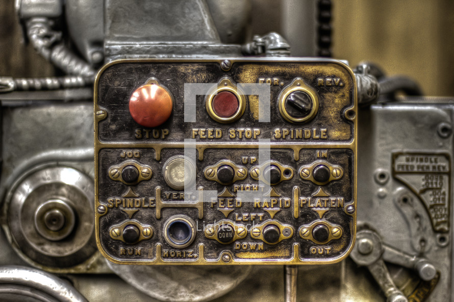 controls on an old machine