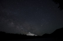 snow covered mountain peak under the night sky