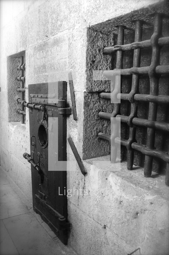 barred windows and prison door