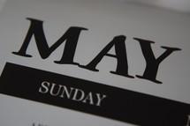 May on a calendar