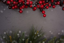 red berries and pine greenery