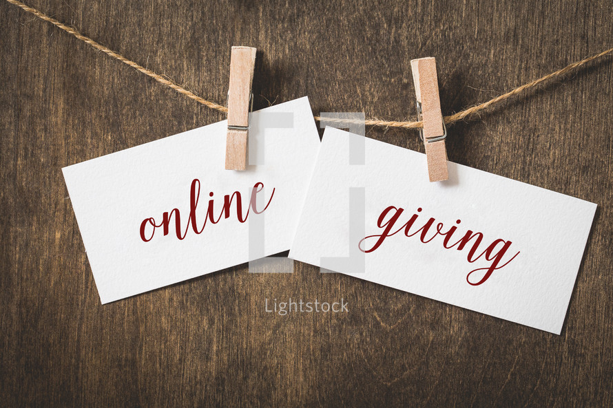 words online giving on card stock hanging on twine by a clothespin