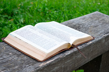 opened Bible outdoors