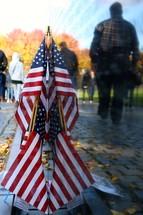American flag at a memorial