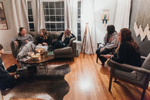 young women gather for snacks and a Bible study