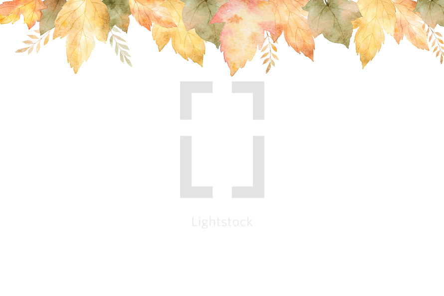 watercolor fall leaf border