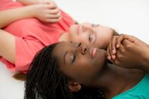 teen girls in prayer