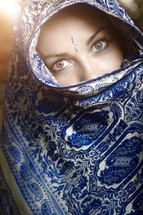 eyes of a veiled Hindu woman