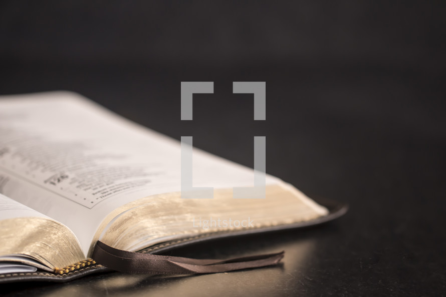open Bible on a slate table