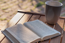 open Bible and coffee mug on an outdoor table
