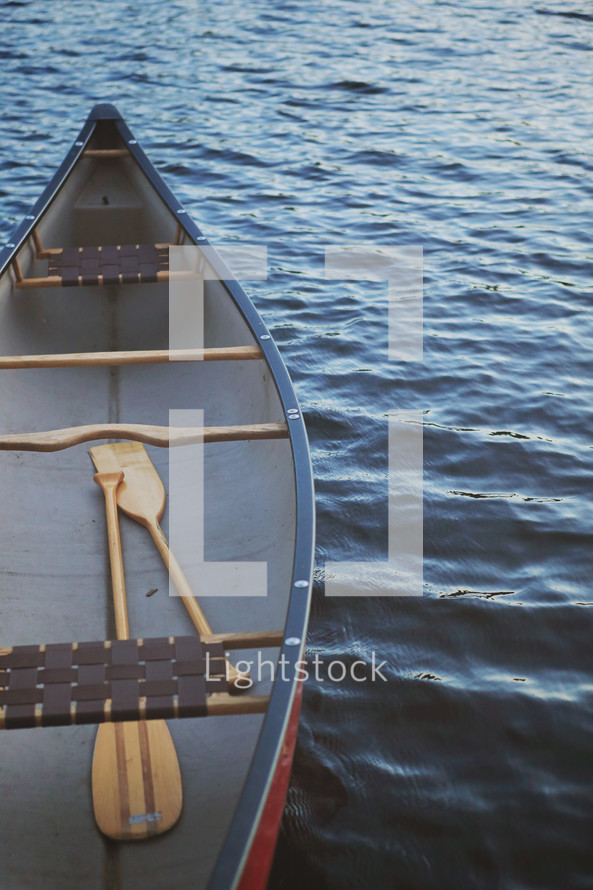 canoe with paddles floating on water