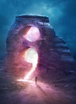 A man approaches a glowing mountain with the semi colon symbol carved out.