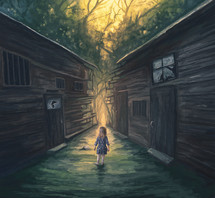 A little girl approaches a pathway through broken homes