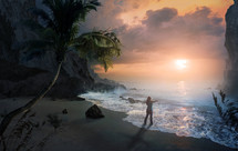a woman with outstretched arms with Beautiful sunrise over peaceful beach.