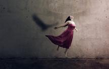 a woman soaring