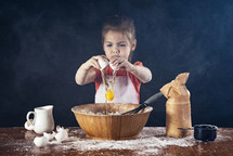girl baking in a kitchen