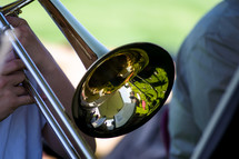 man playing a trombone