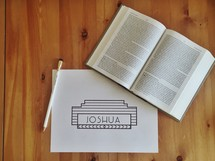 Joshua, ivy, pencil, open Book, Bible study
