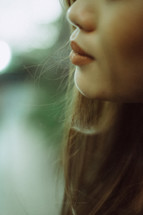 lips of a young woman