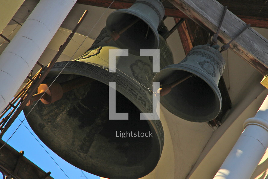 Church bells in a bell tower.