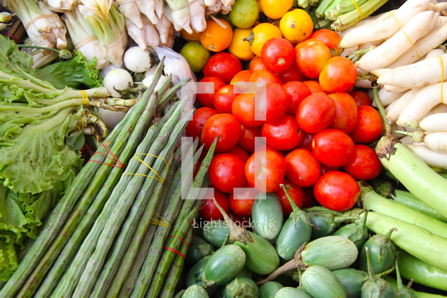 Fresh vegetables at a street-side market stall