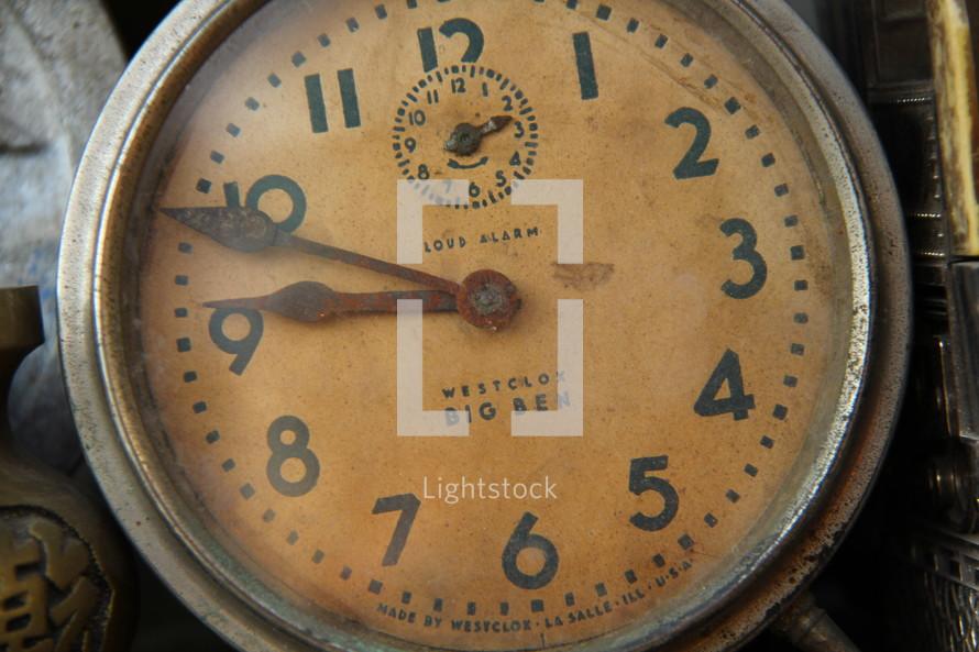 Old alarm clock face.