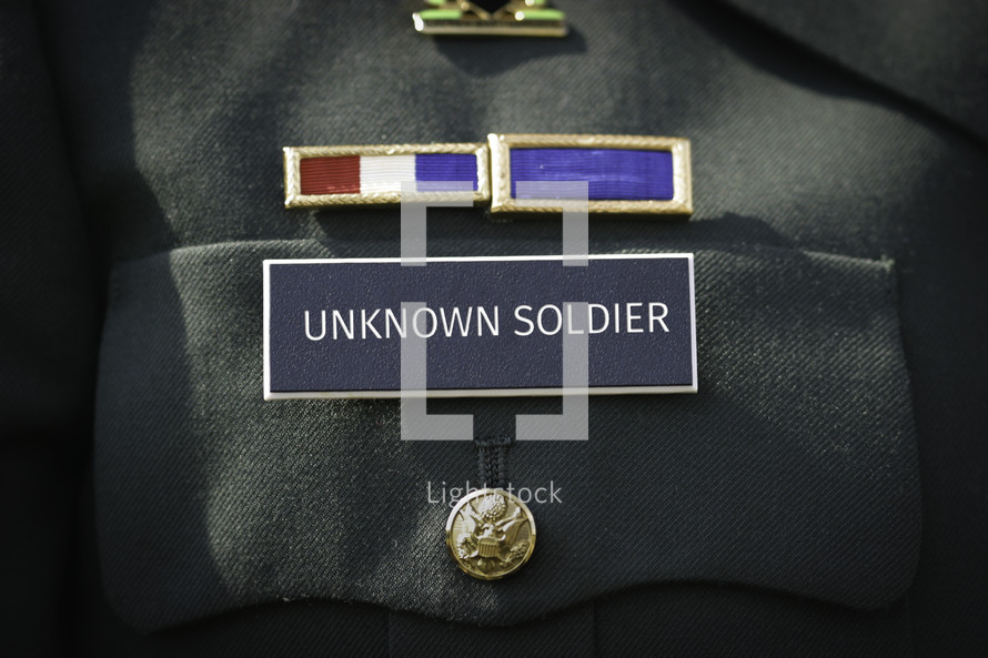 Unknown Solider printed on the military name badge of uniform.