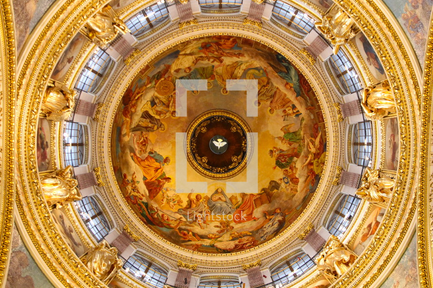 Cathedral dome with dove of the Holy Spirit at the centre.
