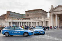 Saint Peter's square in Vatican City there has been an increase in police checks.