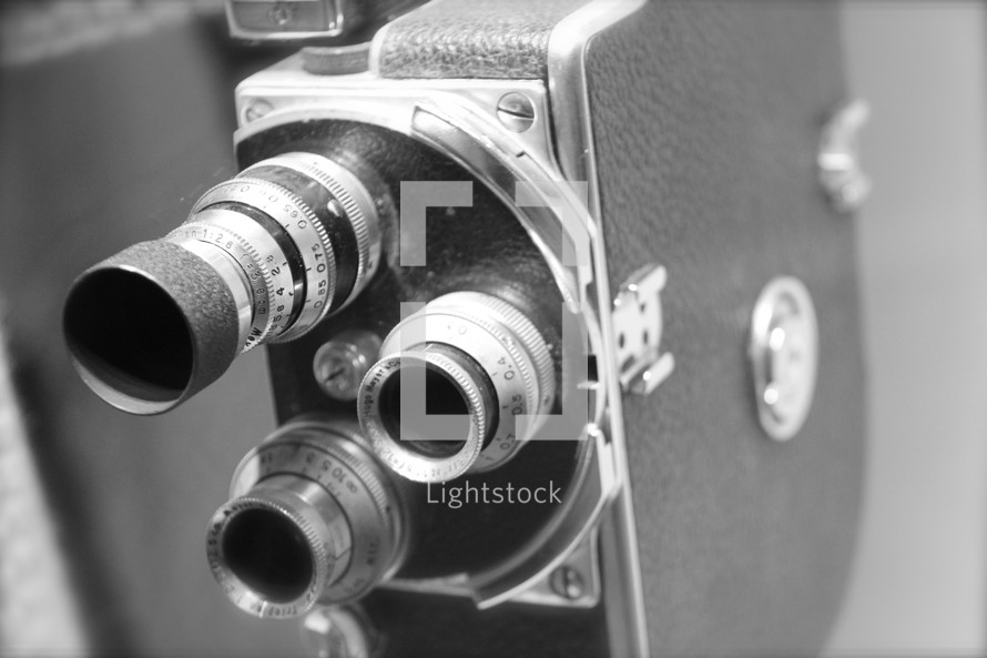 Vintage movie camera with exchangeable lenses