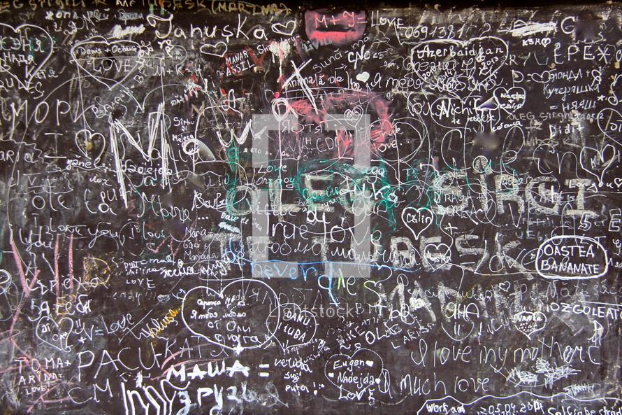 School chalk board graffiti
