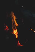glowing coals in a fire