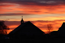 church silhouette at sunset