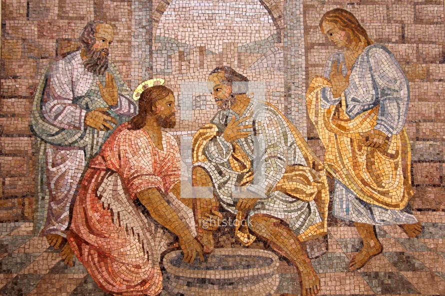 tile mosaic of Jesus washing feet