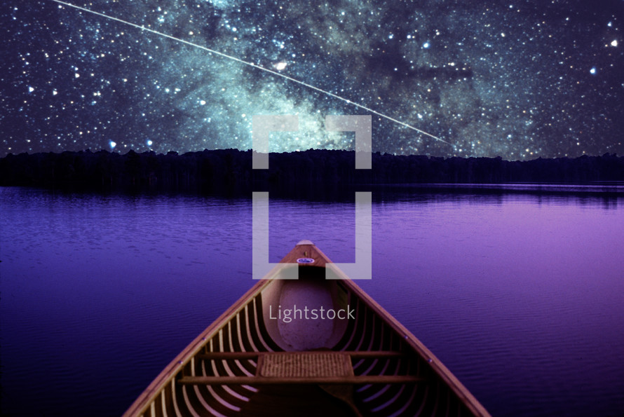 computer composed image consisting of a Mansfield 15 foot canoe on the Pamlico River in North Carolina combined with a NASA photo of the Milky Way and a meteorite.