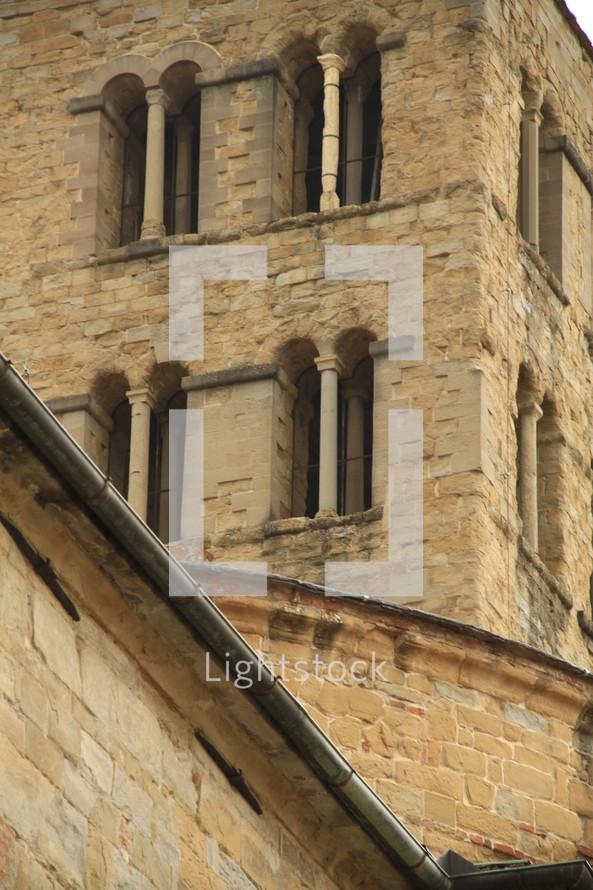 Windows of stone building.