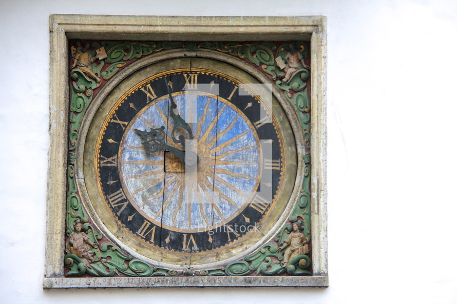 Hands on an old clock - Five Minutes to ten o'clock