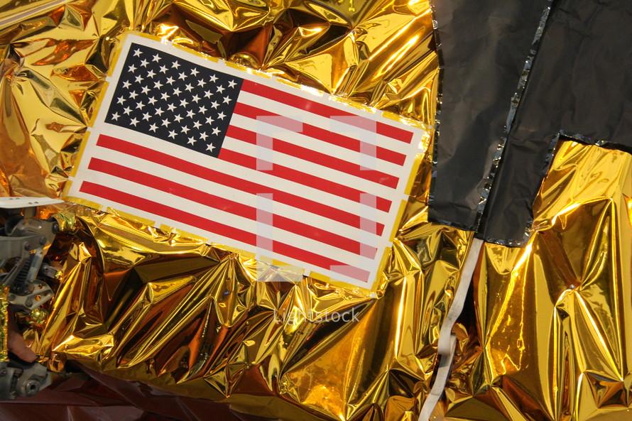 American flag on foil