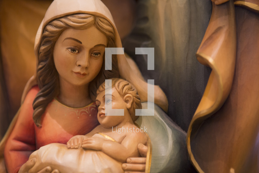 figurine of mother Mary and baby jesus