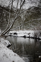 snow on banks of a stream