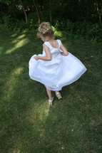 Girl wearing a white dress
