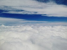 A layer of clouds from above.