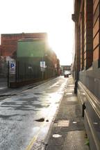 Alleyway at daybreak.