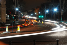 lights from fast moving cars at night