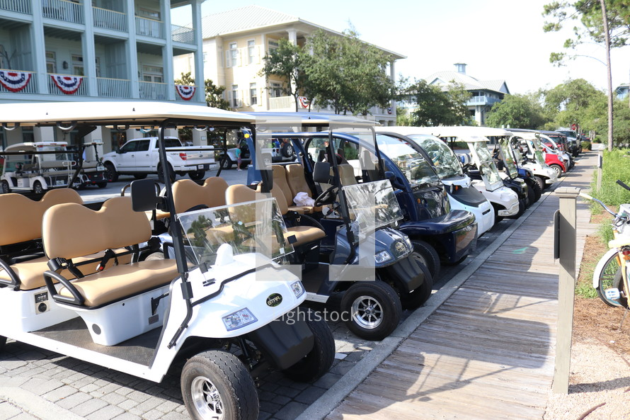 parked golf carts