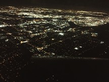 aerial view over a city at night