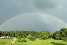 rainbow over a countryside