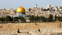 Gold domed Dome of the Rock mosque from across the Kidron Valley, Jerusalem.
