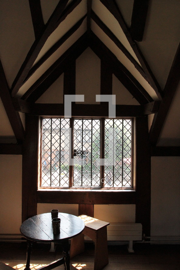 A window inside Shakespeare's home in Stratford Upon Avon, England