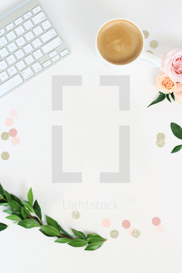 keyboard, leaves, flowers, sparkles, dots, coffee, mug, workspace, desk, home office
